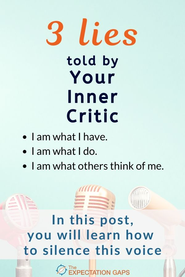 If you're sick of listening to negative self-talk and you're ready to start living with intention, this post just might hold the inspiration you need to get started. It's time to silence your inner critic, and take your first step toward redefining who you are. Includes a FREE WORKSHEET to help you implement the ideas introduced in the post. #ego #redefineyourself #selfawareness #intentionalliving #lifelessons #personaldevelopment #theexpectationgaps