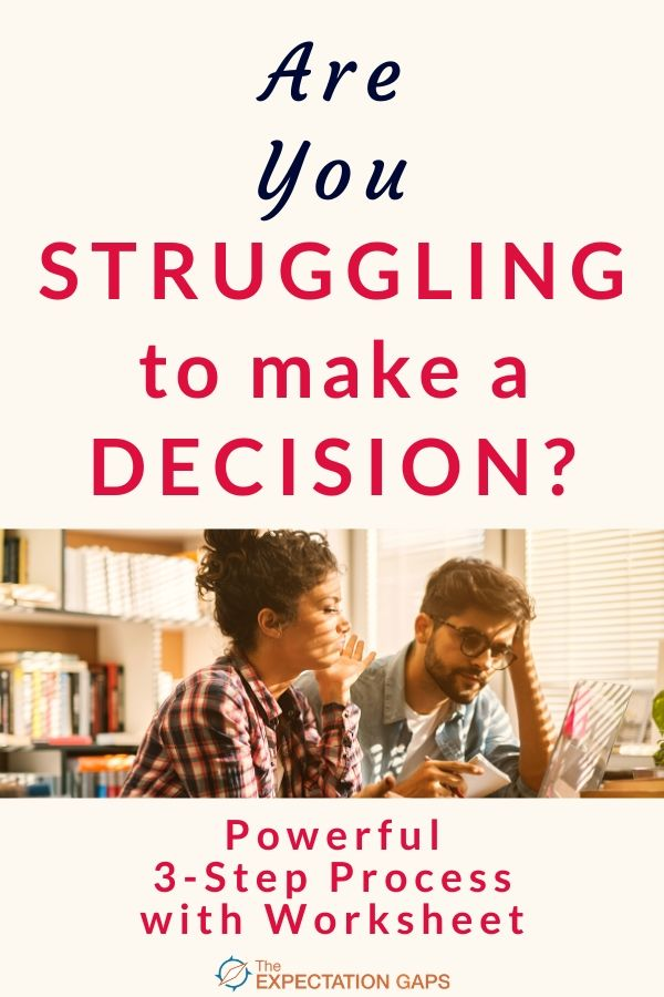 If you're struggling to make a decision, invest 10 minutes of your day to discover this powerful 3-step process that will help you become a confident decision maker. Includes a FREE WORKSHEET to help you work through the 3-step process with whatever decision you are trying to make. #makegooddecisions #mindset #selfawareness #personaldevelopment #theexpectationgaps