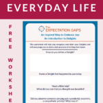To find joy in your everyday life, recognize and claim your Delights. Our full-length post will give you inspiration, and our FREE WORKSHEET will help you go from inspiration to action. You can stop settling and start living a life of gratitude today! #printableworksheets #begrateful #dailyhabits #intentionalliving #selfawareness #selfdevelopmentplan #personalgrowth #theexpectationgaps