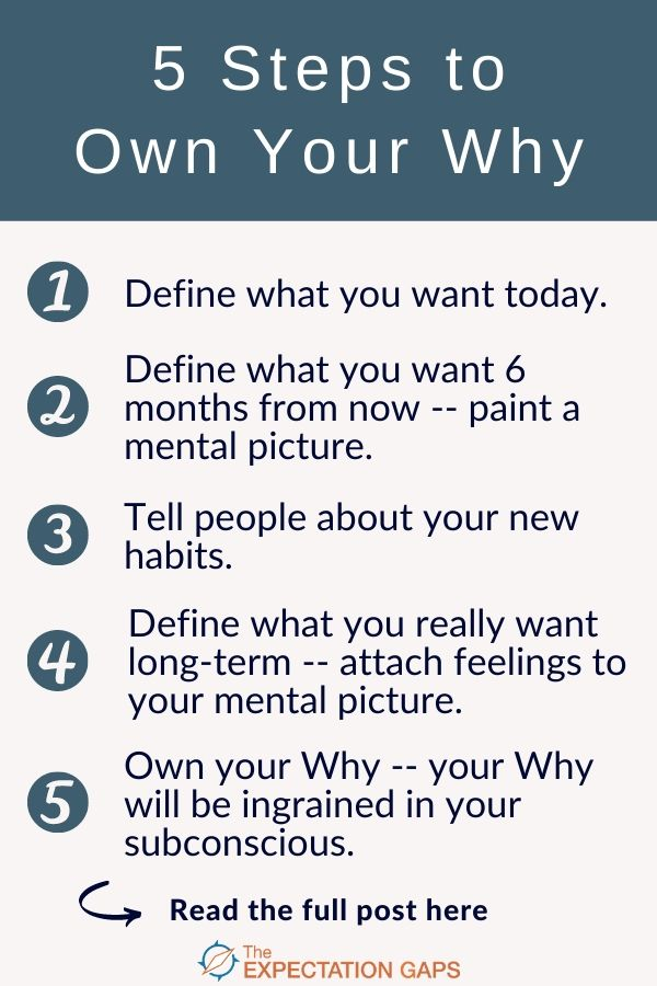 To create the fulfilling life you were meant to live -- to experience lasting personal development -- to meet your needs so that you can become self-actualized -- you need to define your Why.But let's not stop at defining our Why. Let's own it! By following 5 simple steps. #goalsetting #lifelessons #successtips #successmindset #mindsetshift #intentionalliving #selfawareness #dailyhabits #personalgrowth #theexpectationgaps